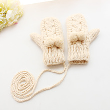 Korean version of the solid color student hanging neck mittens female Korea autumn and winter thick warm and plush knit wool gloves