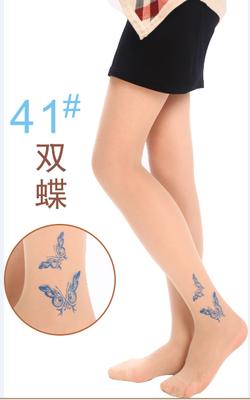 特色带花纹丝袜超薄 假纹身带图案丝袜 提花连裤袜夏性感黑丝诱惑