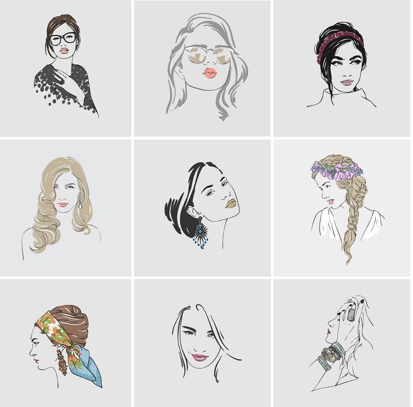 手绘线描线条时尚美女发饰人物头像素描插画eps矢量设计素材70p