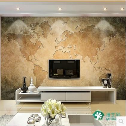 欧式复古3d立体怀旧地图电视背景墙纸卧室沙发无缝