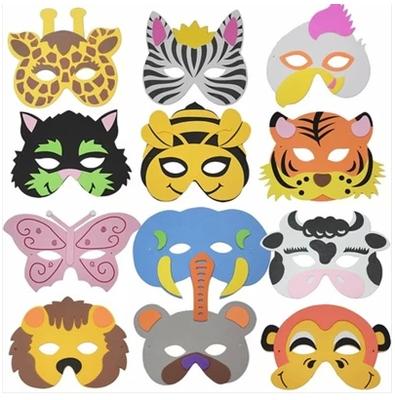eva儿童卡通动物面具玩具幼儿园角色区材料游戏童话