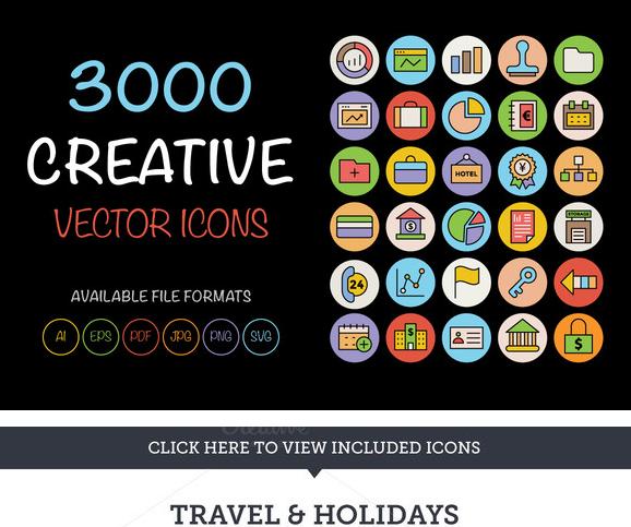 3000个简约彩色ico图标png矢量svg素材photoshop广告