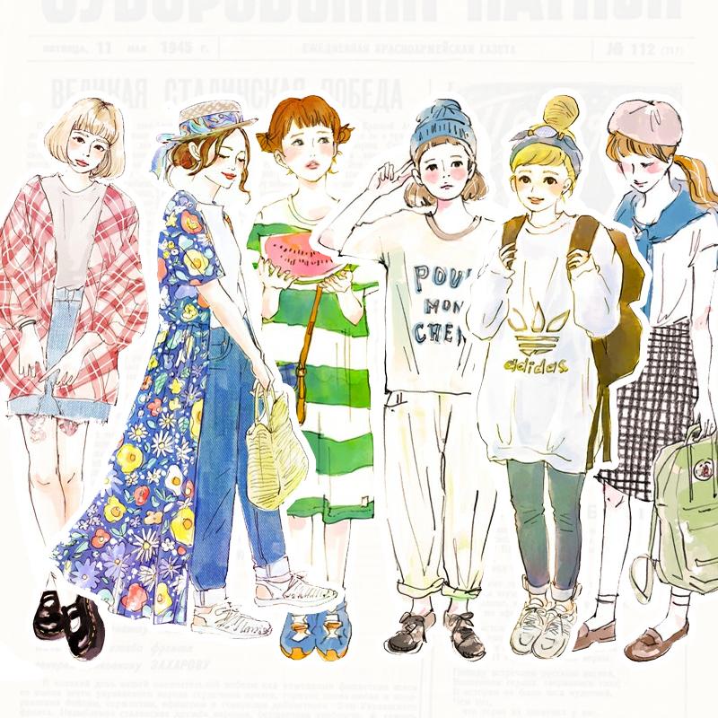 手帐贴纸自制包日系时尚手绘女孩服饰搭配 森系日记笔记装饰贴纸