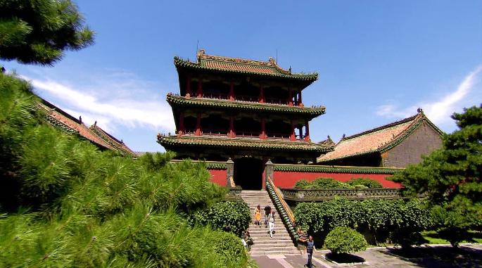 0111国外高超清视频素材中国城市旅游地标辽宁沈阳风景延时led