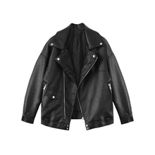 Designer club / Autumn Retro Loose Profile oversize Motorcycle PU Leather BF Wind Jacket Men and women