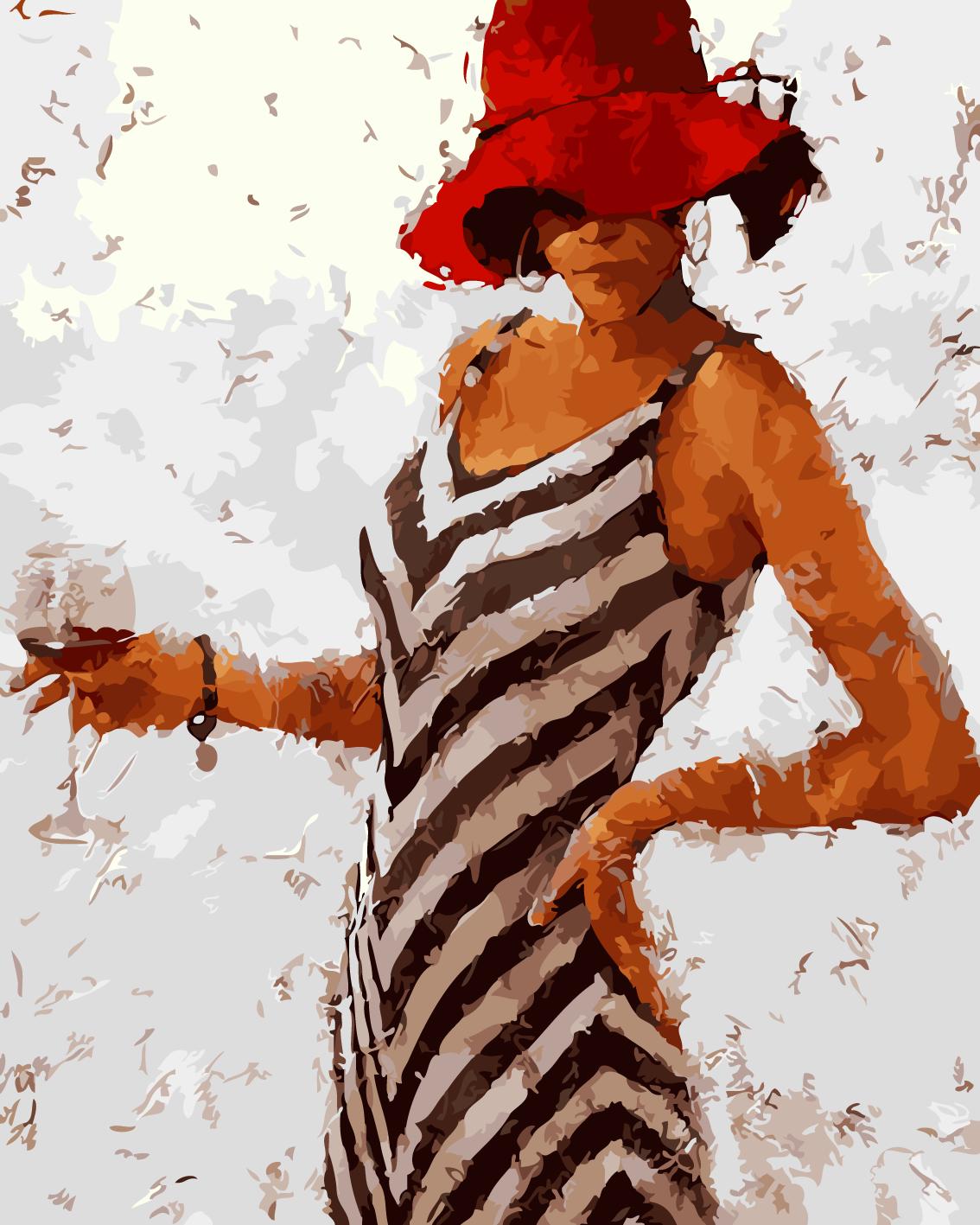 手绘填色客厅现代抽象美女人物装饰
