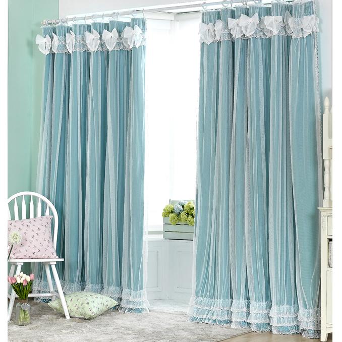田园公主房窗帘 双层蕾丝绣花边全遮光卧室飘窗帘布