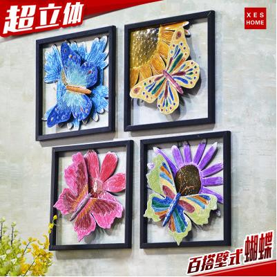 创意家居铁艺壁饰蝴蝶墙饰客厅墙上装饰品房间墙壁挂件墙面壁挂饰