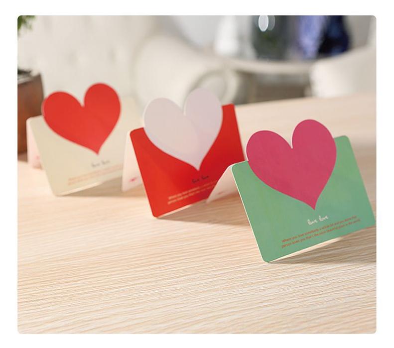 创意表白贺卡教师节感恩爱心祝福贺卡带信封生日空白小卡片