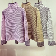 South Korea thick sweater thick thin stripes in the female tide sweet turtleneck female short sleeve head loose Retro