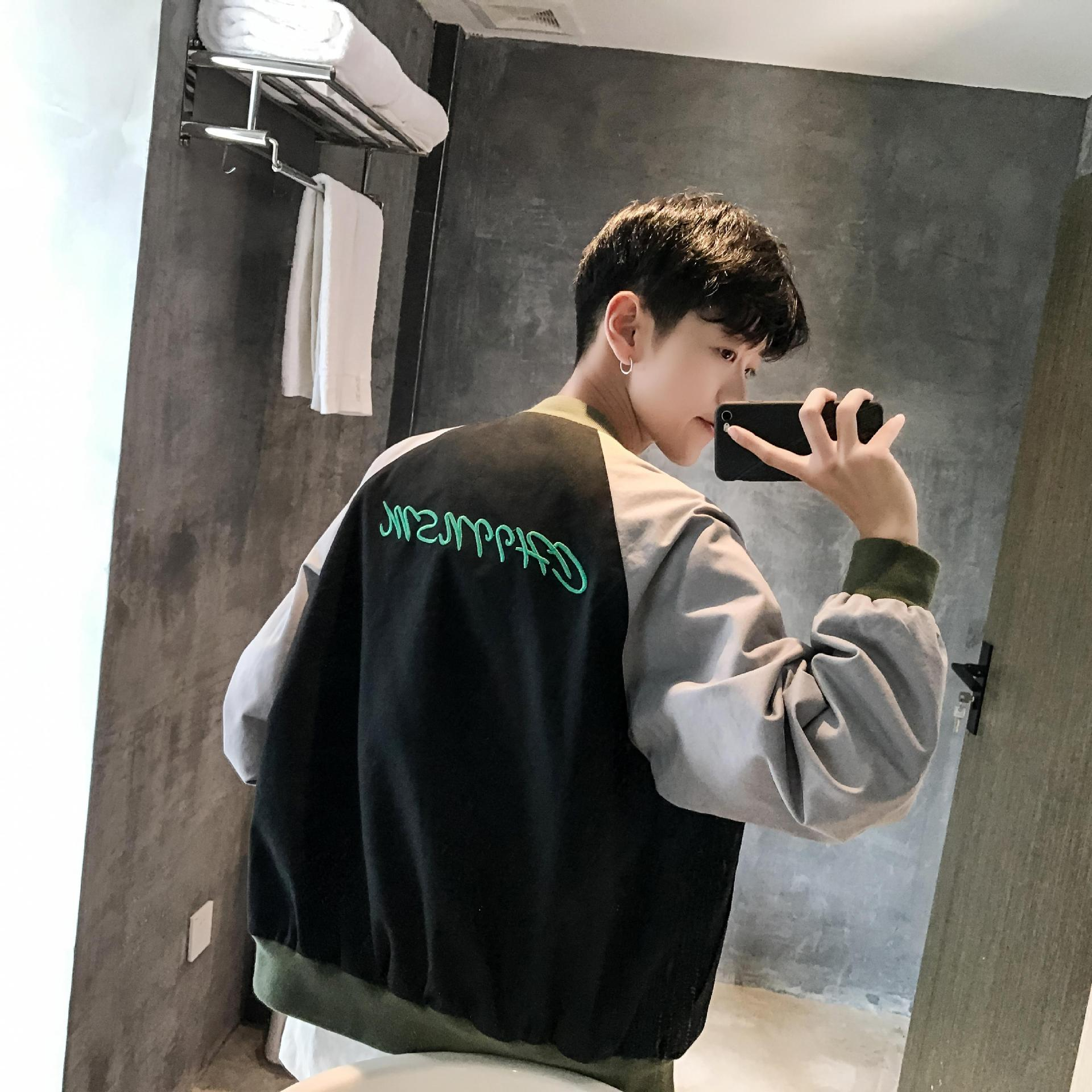 2017 autumn style, Hong Kong style, men's letters, embroidery, collision color, shoulder sleeve, water wash coat