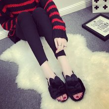 2017 spring and autumn new slippers lovely flat with white fur all-match toe drag casual shoes