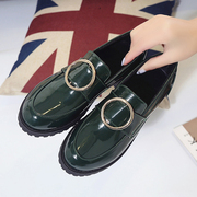 The spring and Autumn New Korean patent leather shoes female set foot deep with small leather shoes round flat shoes all-match students
