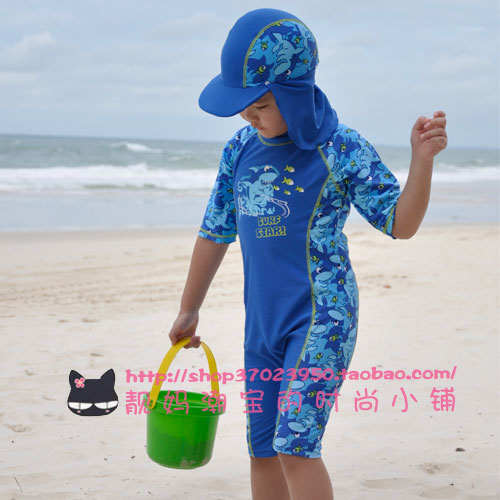 Packages-mail! Foreign trade children's sunscreen UV swimwear boys one-piece swimsuit surf with one Sun Cap