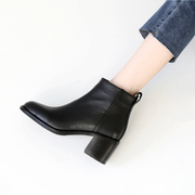 Square retro Martin boots lady boots boots shoes female 2017 new tide leather thick with European high heels