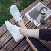 The student street white shoes in summer and autumn all-match Korean flat canvas shoes 2017 new single shoes Zichao