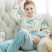 Winter pajamas female thickened coral fleece warm flannel suit Ms. Home Furnishing Korean long sleeved pajamas cartoon