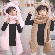 Female Korean Winter Hat Scarf Glove three piece suit children cute scarf thick warm Plush