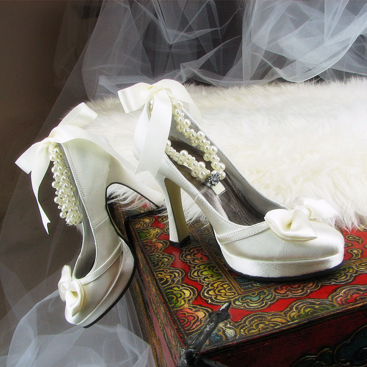 Gilena handmade wedding shoes, dress shoes, round head satin, pearl bow knot, Princess gift shoes, custom height color