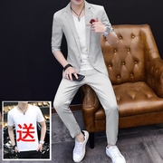 2017 summer, seven points, sleeve suit, men's thin hair, hair stylist, tide, self-cultivation students, nine points pants, small jacket, coat