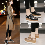 Platform shoes thick soled shoes female stars fall 2017 new Korean all-match slope with casual flat shoes in England