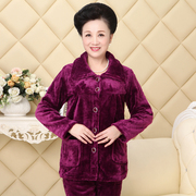 Mid-Autumn winter middle aged mother Pajamas Lady middle aged flannel coral velvet plus thickness mother-in-law