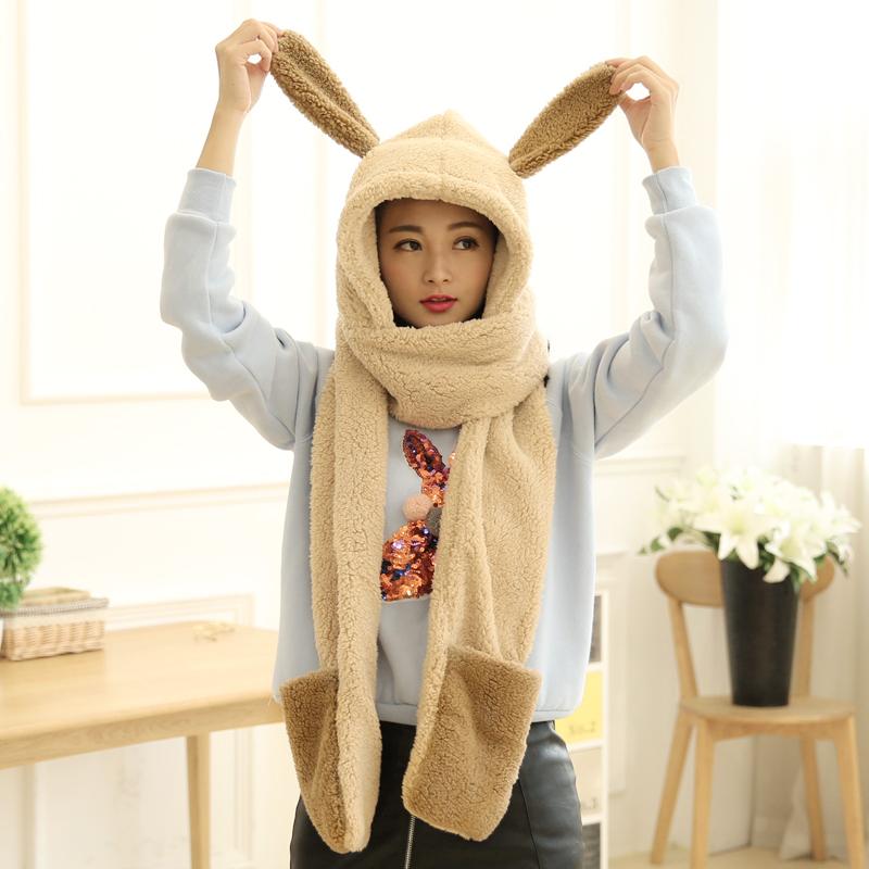 韩版长耳朵可爱围巾冬天帽保暖女围脖加厚女帽子围巾手套一体亲子