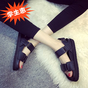 2016 new all-match summer sandals female flat tide flat with Korean Korean students simple thick Velcro toe