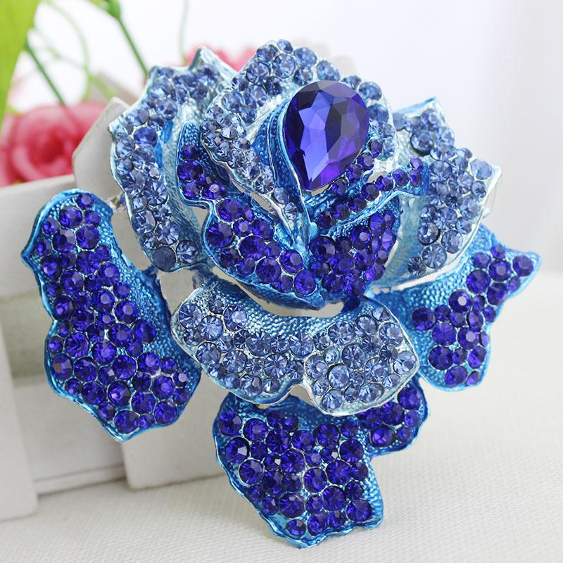 新款 蓝色妖姬玫瑰花 diy配件材料 合金水钻饰品 手机壳美容配件
