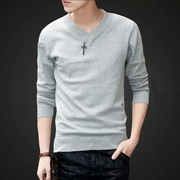 Men's sweater Korean winter velvet padded handsome v-neck sweater trend of self-cultivation base shirt shirt