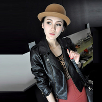 IT purchasing 2017 spring new fashion leather popular actress in Hong Kong with the Korean version of the slim long sleeve black jacket