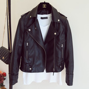 2017 new European leather female short jacket and Korean Motorcycle Jacket Size Pu slim leather jacket