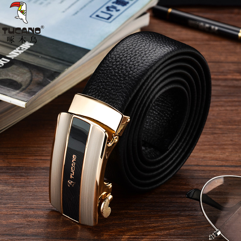 Woodpecker men belt leather automatic buckle youth business fashion belt head layer cowhide belt soft.