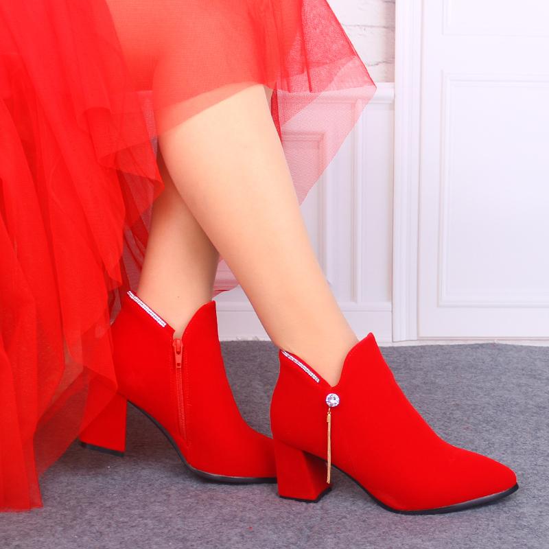 秋冬婚鞋红色高跟鞋粗跟孕妇短靴子红鞋婚礼鞋新娘鞋婚靴新娘靴子