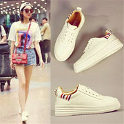 Thick white shoe female in autumn increased 2017 new Korean all-match dermalsurface student street size shoes