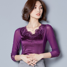The spring and autumn winter new Dongguk door dress sexy aesthetic temperament lace long sleeved shirt jacket.