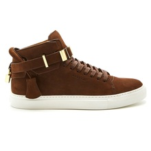 BUSCEMI men's high-top 100mm lock shoes brown suede men's shoes