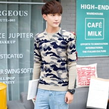 2017 autumn and winter fashion personality camouflage SWEATER MENS LONG SLEEVE Korean men loose turtleneck sweater