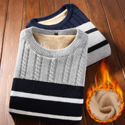 Men's winter sweater slim stripe thickening trend with cashmere Crewneck sweater Pullover youth leisure clothes