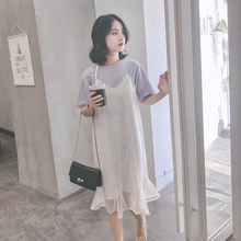 Harajuku chiffon dress female summer two-piece dress skirt chic cold wind skirt super fairy lace suit t-shirt