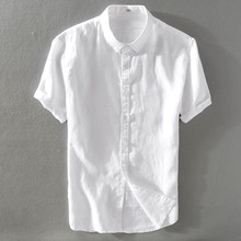 Men's pure linen shirt short-sleeved thin section breathable young students lapel white cotton shirt trend jacket men