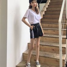Early autumn new women's waist elastic waist loose thin outer wear Pu Pikuo students all-match leg female shorts shorts