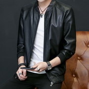 Young male PU leather leather collar washed leather coat thin size short black motorcycle jacket