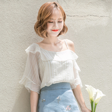 Rose small fresh word shoulder chiffon shirt short sleeve female summer loose wild bare shoulders summer 2018 new clothes