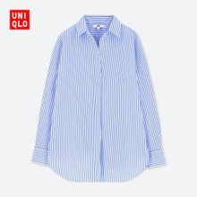 Women's Premium Long-Wool Cotton Striped Top (Long Sleeve) 407430 Uniqlo UNIQLO