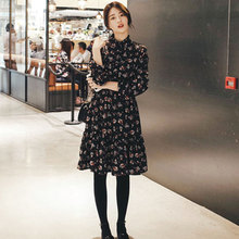 2017 early autumn Korean women's new long sleeved Floral Chiffon Dress in a long sweet printing backing skirt