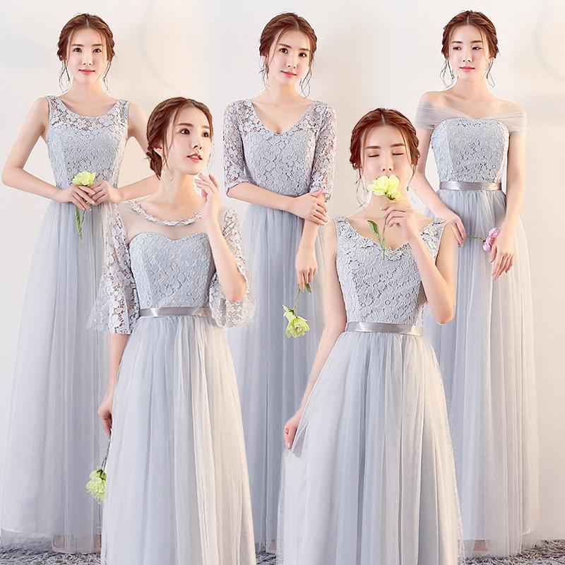 伴娘服长款2017新款秋冬伴娘团礼服灰色修身姐妹裙显瘦毕业晚礼服