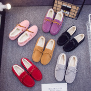 Doug shoes fall flat with 2017 new Korean students all-match Harajuku winter plush velvet shoes Society