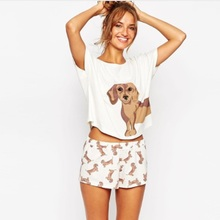In the autumn of 2017 women's new coat and the wind - Elastic Waist Shorts T-shirt + doggie printing two suit