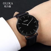 Men and women watch waterproof simple couple watch student's trend of non mechanical Leather Quartz men's Watch